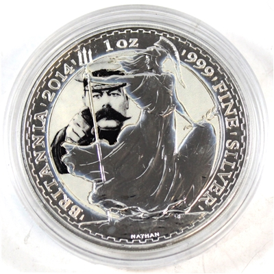 2014 GB 2 Pound Britannia 1oz. Silver with Lord Kitchener Image (No Tax) Impaired