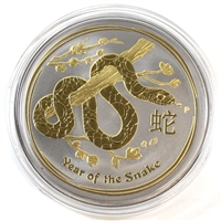 2013 Australia $1 Lunar Snake w/ Gold & Ruthenium Plating (No Tax) Capsule Scratched