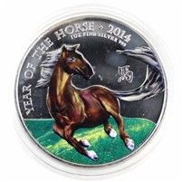 2014 GB 2 Pound Coloured Year of the Horse 1oz. .999 Silver (No Tax) Scuffed