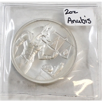 Anubis 2oz .999 High Relief Silver Round (No Tax) Lightly Toned