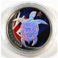 2013 Fiji $1 Taku Turtle 1/2oz. Silver with Hologram & Colour (No Tax)