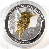 2014 Australia Kookaburra Gold Plated .999 Fine Silver. No Tax (capsule lightly scuffed)