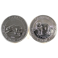 2013 Polar Bear & 2014 Arctic Fox 1.5oz. .9999 Fine Silver. No Tax (lightly toned) 2pcs