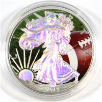 2014 Hologram USA Silver Eagle $1 with coloured Football .999 Fine Silver. No Tax