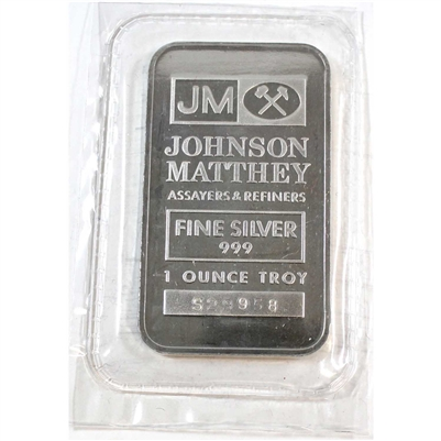 1 oz Johnson Matthey Sooter Bar .999 Fine Silver (No Tax) Sealed