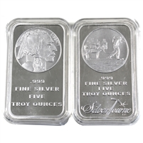 Pair of Encapsulated SilverTowne 5oz .999 Silver Bars, 2Pcs (No Tax)