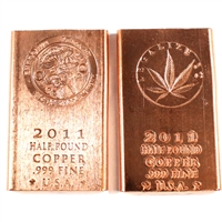 Pair of 1/2 Pound Pure Copper Bars - Legalize It & Shroomin (No Tax). 2pcs