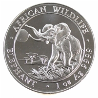 2016 Somali Republic 100 Shillings African Elephant 1oz. .999 Silver (No Tax) impaired