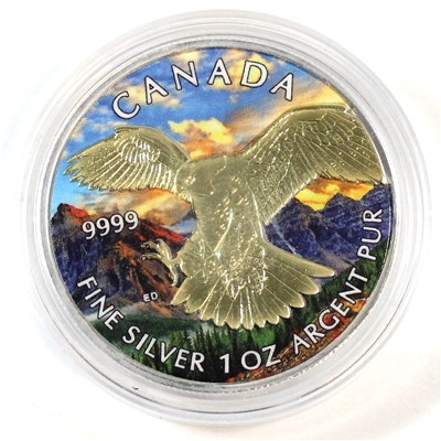 2014 Canada $5 Peregrine Falcon Gold Plated with Nature Scene Silver (No Tax) impaired