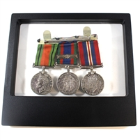 Group Lot of WWII Medals in Transparent Floating Display Frame, 3 Medals