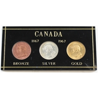 1867-1967 Canada Centennial 3-Medallion Set in Acrylic - Bronze, Silver, and Gold-Plated