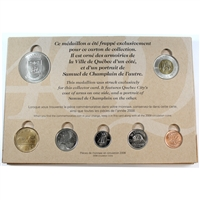 1608-2008 Quebec City's 400th Anniversary 7-coin RCM Issue Card with Medallion