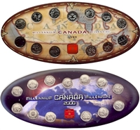 Official RCM Issued 1999 and 2000 Millennium Oval Boards w/coins