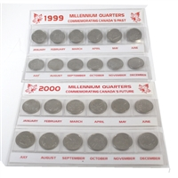 Pair of 1999 & 2000 Millennium 25-Cents in Holders, 2 Sets (Coins are Circulated)