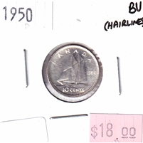 1950 Canada 10-cents Brilliant Uncirculated (MS-63) scratches or hairlines