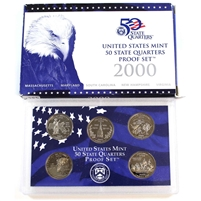 2000-S USA 50 State Quarters Proof Set (light wear on sleeve)