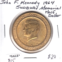 1964 Sudbury Canada John F Kennedy Memorial Half Dollar with Quote