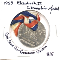 1953 Coronation of Queen Elizabeth II Medal with Original Ribbon