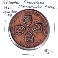 1967 Atlantic Provinces Numismatic Association Copper Medallion - Moncton NB