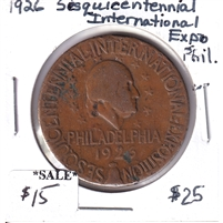 1926 USA Sesquicentennial International Exposition in Philadelphia Medallion