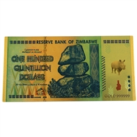 Zimbabwe One Hundred Quintillion Dollar Replica Foil Notes