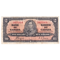 BC-22c 1937 Canada $2 Coyne-Towers Very Fine (VF-20) Tear, Holes, or Damaged