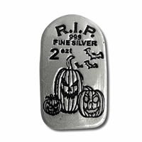 Monarch Glow-in-the-Dark Jack o' Lantern Tombstone 2oz. .999 Silver (No Tax) ONLY 999 MINTED!