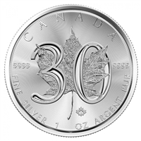 2018 Canada $5 30th Anniversary 1oz .999 Silver Maple Leaf (No Tax)
