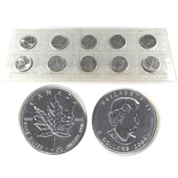 Original Sealed Sheet of 10x 2004 Canada $5 .9999 Silver Maple Leaf (No Tax)