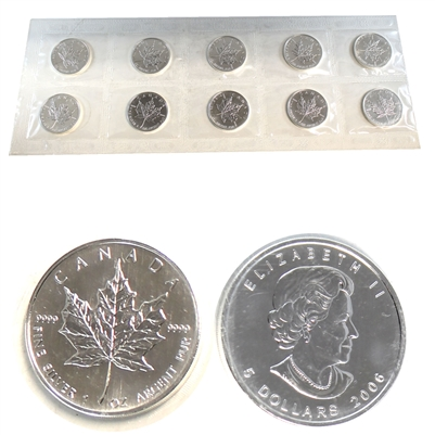 10 x 2006 Silver $5 Maple Leaf (still sealed in orginal strip of 10 from mint). No Tax