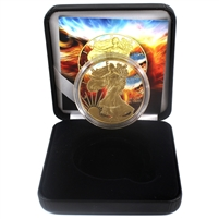 Eagel Eye $1 Silver USA .999 Fine Gold Plated with Colouring & Case (No Tax)