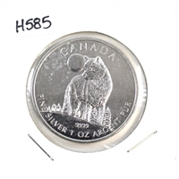 2011 Canada $5 Wildlife - Wolf Silver Maple (No Tax) lightly toned/spotted