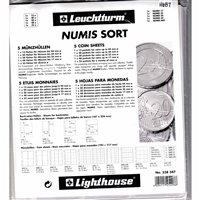 Numis Coin Sheets - Pack of 5x Coin Sheets with Assorted Pocket Sizes