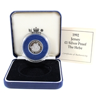 1992 Bailiwick of Jersey One Pound Silver Proof in Blue Box