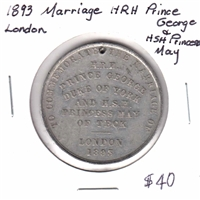 1893 Marriage of H.R.H Prince George & H.S.H Princess May Medallion