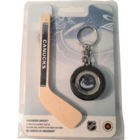2009 Canada $1 Vancouver Canucks Mini Puck Keychain & Hockey Stick - Scuffed