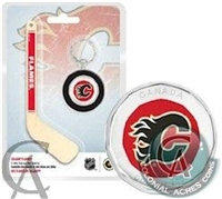 "2009 Canada $1 Calgary Flames Mini Puck Keychain with 5"" hockey stick"