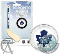 2009 Canada $1 Toronto Maple Leafs Mini Puck Keychain & Hockey Stick