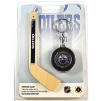 "2009 Canada $1 Edmonton Oilers Mini Puck Keychain with 5"" Hockey Stick"