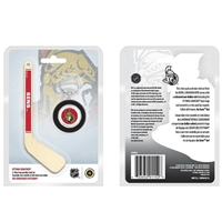 "2009 Canada $1 Ottawa Senators Mini Puck Keychain with 5"" Hockey Stick -Light Scuffs"