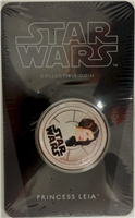 2011 Niue $1 Star Wars - Princess Leia Silver Plated Coin in Card