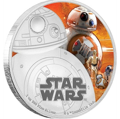 2016 Niue $2 Star Wars: The Force Awakens - BB-8 Silver Proof (No Tax)