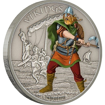 2016 Niue $2 Warriors of History - Vikings Silver Proof (No Tax)