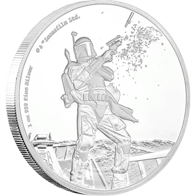 2017 Niue $2 Star Wars Classic - Boba Fett 1oz Silver (No Tax)