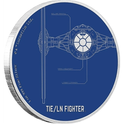2017 Niue $2 Star Wars Ships - TIE/LN Fighter Fine Silver (No Tax)