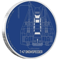 2017 Niue $2 Star Wars Ships - T-47 Snowspeeder 1oz Silver (No Tax)