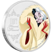 2018 Niue $2 Disney Villains - Cruella de Vil 1oz Silver (No Tax)