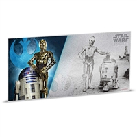 2018 Niue $1 Star Wars: A New Hope - R2D2 & C-3PO 5g Silver Coin Note (No Tax)