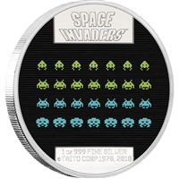 2018 Niue $2 40th Anniversary of Space Invaders 1oz. Silver Lenticular Proof (No Tax)