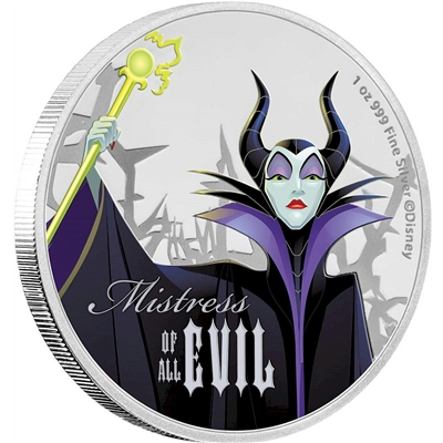 2018 Niue $2 Disney Villains - Maleficent 1oz. Silver Proof (No Tax)